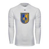 Under Armour White Long Sleeve Tech Tee-CUNY Shield