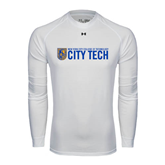 Under Armour White Long Sleeve Tech Tee-City Tech w/Shield