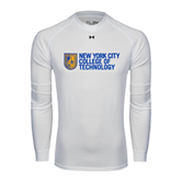 Under Armour White Long Sleeve Tech Tee-New York City College Of Technology w/ Shield