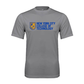 City College of Technology  Performance Grey Concrete Tee-New York City College Of Technology w/ Shield