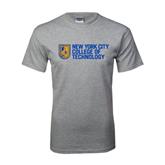 Grey T Shirt-New York City College Of Technology w/ Shield