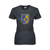 Ladies Dark Heather T Shirt-CUNY Shield