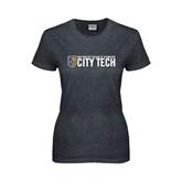 Ladies Dark Heather T Shirt-City Tech w/Shield