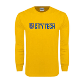 Gold Long Sleeve T Shirt-City Tech w/Shield
