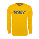 Gold Long Sleeve T Shirt-New York City College Of Technology w/ Shield