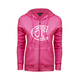 City College of Technology  ENZA Ladies Fuchsia Fleece Full Zip Hoodie-Official Logo