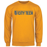 City College of Technology  Gold Fleece Crew-City Tech w/Shield