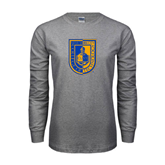 Grey Long Sleeve T Shirt-CUNY Shield