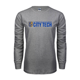 Grey Long Sleeve T Shirt-City Tech w/Shield