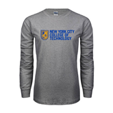 Grey Long Sleeve T Shirt-New York City College Of Technology w/ Shield