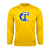 City College of Technology  Performance Gold Longsleeve Shirt-Official Logo