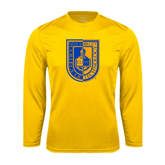 City College of Technology  Performance Gold Longsleeve Shirt-CUNY Shield