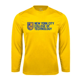 City College of Technology  Performance Gold Longsleeve Shirt-New York City College Of Technology w/ Shield