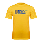 City College of Technology  Performance Gold Tee-New York City College Of Technology w/ Shield
