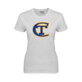City College of Technology  Ladies White T Shirt-Official Logo