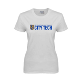 City College of Technology  Ladies White T Shirt-City Tech w/Shield