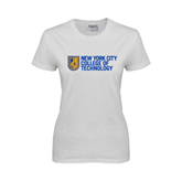City College of Technology  Ladies White T Shirt-New York City College Of Technology w/ Shield