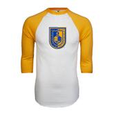 White/Gold Raglan Baseball T-Shirt-CUNY Shield