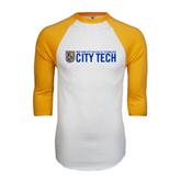 White/Gold Raglan Baseball T-Shirt-City Tech w/Shield