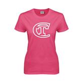 Ladies Fuchsia T Shirt-Official Logo