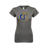 City College of Technology  Next Level Ladies SoftStyle Junior Fitted Charcoal Tee-Official Logo