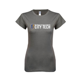 City College of Technology  Next Level Ladies SoftStyle Junior Fitted Charcoal Tee-City Tech w/Shield