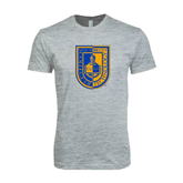Next Level SoftStyle Heather Grey T Shirt-CUNY Shield