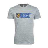 Next Level SoftStyle Heather Grey T Shirt-New York City College Of Technology w/ Shield