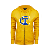 City College of Technology  ENZA Ladies Gold Fleece Full Zip Hoodie-Official Logo