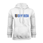 City College of Technology  White Fleece Hoodie-City Tech w/Shield