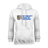City College of Technology  White Fleece Hoodie-New York City College Of Technology w/ Shield