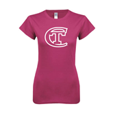 City College of Technology  Next Level Ladies SoftStyle Junior Fitted Fuchsia Tee-Official Logo