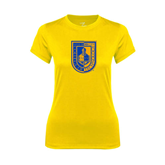 Ladies Syntrel Performance Gold Tee-CUNY Shield