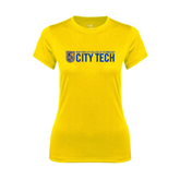 Ladies Syntrel Performance Gold Tee-City Tech w/Shield