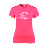 City College of Technology  Ladies Performance Hot Pink Tee-Official Logo