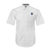 City College of Technology  White Twill Button Down Short Sleeve-CUNY Shield