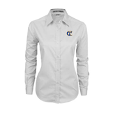 City College of Technology  Ladies White Twill Button Down Long Sleeve-Official Logo