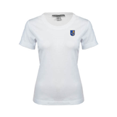 Ladies White Stretch Scoop Neck-CUNY Shield