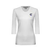 City College of Technology  Ladies White 3/4 Sleeve Scoop Neck-Official Logo