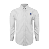 City College of Technology  Mens White Oxford Long Sleeve Shirt-CUNY Shield