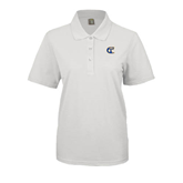 City College of Technology  Ladies Easycare White Pique Polo-Official Logo