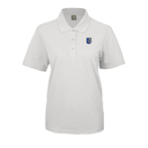 City College of Technology  Ladies Easycare White Pique Polo-CUNY Shield