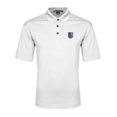 City College of Technology  White Performance Fine Jacquard Polo-CUNY Shield