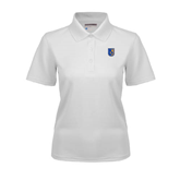 City College of Technology  Ladies White Dry Mesh Polo-CUNY Shield