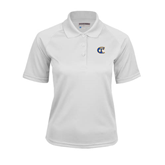 City College of Technology  Ladies White Textured Saddle Shoulder Polo-Official Logo
