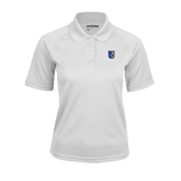 City College of Technology  Ladies White Textured Saddle Shoulder Polo-CUNY Shield