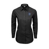 City College of Technology  Ladies Black Tonal Pattern Long Sleeve Shirt-CUNY Shield