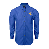City College of Technology  Mens Royal Oxford Long Sleeve Shirt-Official Logo