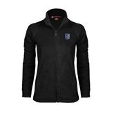 Ladies Fleece Full Zip Black Jacket-CUNY Shield