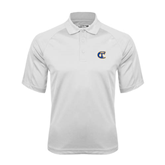 City College of Technology  White Textured Saddle Shoulder Polo-Official Logo